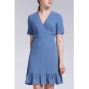ELegant Ladies Dress Solid Color Short Sleeve Surplice Neck Ruffled Trim Midi A-line Dress