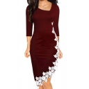 Elegant Ladies Dress Lace Trim Long Sleeve Asymmetric Neck Mid Fitted Dress