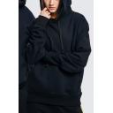 Fashion Mens Hooded Sweatshirt Plain Drawstring Pockets Gathered Cuffs Thick Long Sleeve Oversize Hooded Sweatshirt