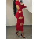 Fashion Womens Dress Cut Out Long Sleeve High Rise Plain Maxi Sheath Dress in Red