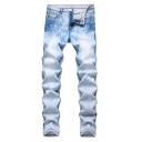 Men's Popular Fashion Snow Washed Light Blue Trendy Ripped Jeans