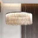 Postmodern Tassel Chain Pendant Chandelier Metal Living Room LED Circle Hanging Lamp
