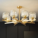 Gold Finish Cylinder Chandelier Postmodern Prismatic Optical Crystal Hanging Ceiling Light