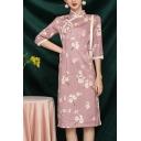 Womens Elegant Cheongsam Dress Floral Printed Frog Buttons Side Splits Mandarin Collar Slim 3/4 Sleeve Knee Length Dress