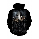 3D GAME OVER Letter Chain Skull Printed Black Long Sleeve Drawstring Hoodie with Pocket