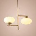 Gold Egg-Like Chandelier Pendant Light Contemporary 2 Heads Cream Glass LED Hanging Light