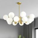Nordic Style Ball Shade Suspension Light Glass Living Room Chandelier Lighting Fixture