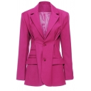 Rose Red Pretty Blazer Long Sleeve Notched Collar Button Up Regular Fit Blazer Top for Ladies