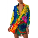 Stylish Womens Shirt Color Blocked Vines Printed Tunic Single Breasted Spread Collar Loose Long Sleeve Shirt
