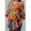 Casual Shirt Geometric Abstract Pattern Front Bow Slim Surplice Neck Long Lantern Sleeve Shirt for Women