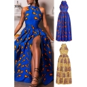 Fancy Womens Dress Abstract Peacock Feather Printed Pleated Back Zip A-Line Stand Collar Fitted Sleeveless Maxi Slit Dress