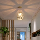 Clear Glass Panes Gold Pendant Light Diamond Single-Bulb Classic Suspension Light Fixture for Entryway