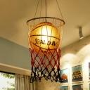 Creative Sports Ball Pendant Light Fixture Glass Single-Bulb Boys Bedroom Ceiling Hang Lamp