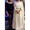 Ethnic Womens Dress Rhinestone Decoration Muslim Long Bat-Wing Crew Neck Maxi Robe Dress