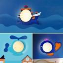 Mediterranean Cartoon Shape Wall Sconce Wooden 1-Light Kids Bedside Wall Mount Light in Blue