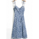 Fancy Womens Dress Ditsy Floral Print Bow Tied Shoulder Mid A-line Cami Dress in Blue