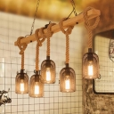 5 Bulbs Pendant Light Vintage Dangling Hemp Rope Hanging Island Light with Cage in Wood