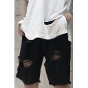 Mens Cool Shorts Distressed Mid Waist Straight Denim Shorts in Black