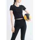 Novelty Womens T-Shirt Plain Color Quick Dry Short Sleeve Round Neck Slim Fit Yoga Tee Top