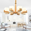 White Glass Cube Chandelier Modernist Wood Hanging Pendant Light for Living Room