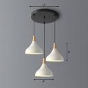Macaron Novelty 3-Light Ceiling Light Teardrop-Like Suspension Pendant with Metal Shade