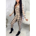 Unique Womens Jumpsuit Plaid Pattern Deep V Neck Skinny Fitted Long Sleeve Khaki Jumpsuit