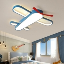 Acrylic Airplane Flush Mount Lighting Cartoon LED Blue Ceiling Light for Kids Room