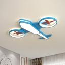 Aircraft LED Flush Mount Childrens Acrylic Bedroom Flushmount Ceiling Light in Blue