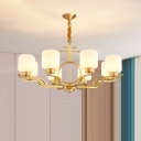 Cream Glass Cylindrical Chandelier Lighting Antique Living Room Ceiling Light in Brass