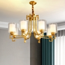 2-Shade Ceiling Pendant Light Traditional Brass Clear and Frost Glass Chandelier for Living Room