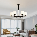 White Glass Hanging Light Minimalist Black-Chrome Radial Parlor Chandelier with Tapered Shade