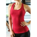 Womens Tank Top Fitness Plain Color Chest Pad Cross Beauty Back Sleeveless Scoop Neck Slim Fitted Tank Top