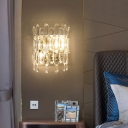 Half-Drum Bedside Wall Light Fixture K9 Crystal 2-Bulb Contemporary Sconce in Gold