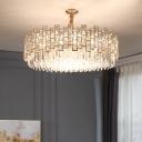Drum Shaped Hanging Lamp Modern K9 Crystal Rectangles Chandelier Light for Bedroom