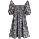 Stylish Womens Dress Ditsy Floral Printed Short Sleeve Square Neck Short A-line Dress in Black