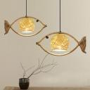 Fish Shaped Restaurant Commercial Pendant Lighting Rustic Rattan Single Brown Hanging Lamp