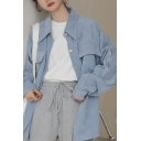 Cozy Women's Shirt Blouse Solid Color Corduroy Flap Pocket Button Closure Point Collar Long Sleeve Regular Fitted Shirt Blouse