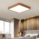 Geometry Bedroom LED Ceiling Flush Mount Wood Minimalist Flush-Mount Light in Brown