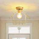 Metal Gold Flush Light House Frame Shaped 1 Bulb Minimalist Semi Flush Mount Ceiling Light