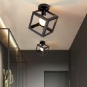 Industrial Cage Semi-Flush Mount Ceiling Light 1-Light Iron Flush Mount Lighting in Black