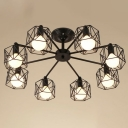 8 Lights Cage Ceiling Chandelier Factory Black Iron Hanging Pendant Light for Living Room