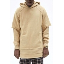 Leisure Mens Hoodie Plain Patched Long Sleeve Relaxed Fit Hoodie
