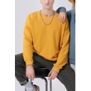 Trendy Sweatshirt Solid Color Gathered Cuffs Drop Shoulders Crew Neck Long Sleeve Loose Fitted Sweatshirt