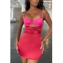 Elegant Womens Dress Patchwork Spaghetti Straps Twist Front Cut Out Mini Tight Cami Dress