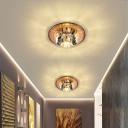 Faceted Cut Crystal Mini Flush Mounted Lamp Modern LED Ceiling Flush Light for Aisle