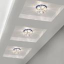 Hallway LED Flush Mount Lighting Modern Ceiling Fixture with Flower Crystal Shade