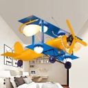 Propeller Biplane Metal Pendant Light Childrens 7-Bulb Yellow and Blue Chandelier