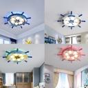Rudder Metallic Flushmount Ceiling Lamp Childrens 6-Bulb Flush Mount Light for Bedroom