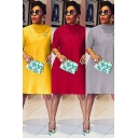 Simple Womens Dress Solid Color Decoration Short Sleeve Mock Neck Midi A-line Dress