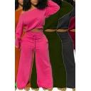 Fashion Girls Set Solid Color Long Sleeve Oblique Shoulder Loose Crop Sweatshirt & Pants Set